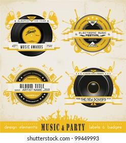 Vintage Music Labels and Badges.