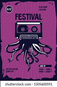 Vintage music poster . Octopus tentacles and audio cassette. Night party retro background. Dance festival template.