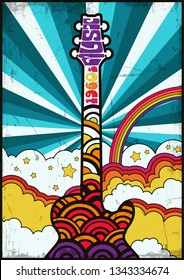 Vintage Music Poster Template from the Seventies Retro Colors, Guitar, Clouds and Rainbow