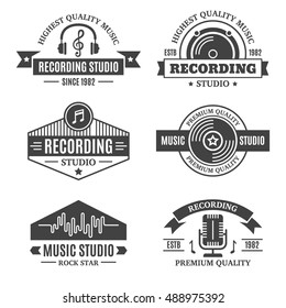 Vintage music recording, production studio, sound label, podcast and radio typography retro design elements, emblems, symbols, icon, badges collection. Business signs, objects, logo, identity template