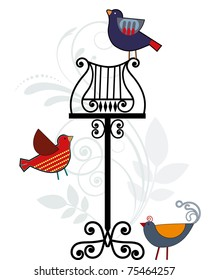 Vintage music stand with birds
