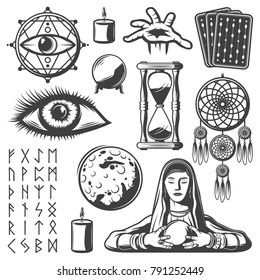 Vintage mystic elements set with third eye fortune teller candle tarot cards sandglass crystal ball moon runic alphabet magical symbols isolated vector illustration