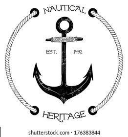 Vintage nautical badge with anchor