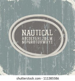 Vintage nautical card with retro alphabet. Vector, EPS8