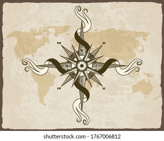 Vintage nautical compass. Old world map on vector paper texture with grunge border frame. Wind rose
