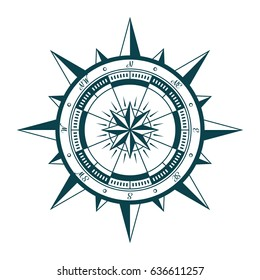 Vintage nautical compass rose. Vector illustration of wind rose in retro style