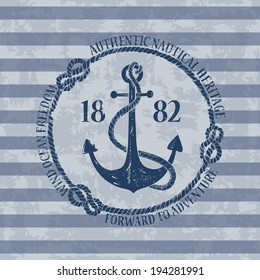 Vintage nautical emblem with anchor on a striped background