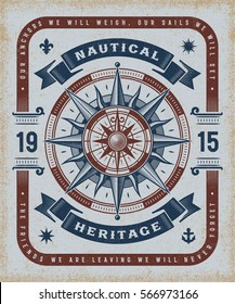 Vintage Nautical Heritage Typography. T-shirt and label graphics in woodcut style. Editable EPS10 vector illustration.