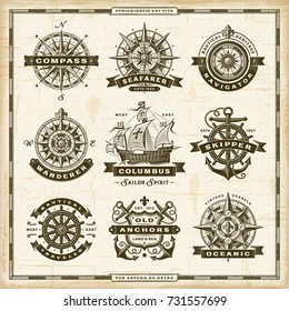 Vintage nautical labels collection. EPS10 vector illustration in retro woodcut style with transparency.