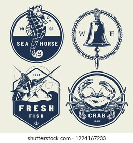 Vintage nautical labels collection with inscriptions seahorse ship bell swordfish crab isolated vector illustration