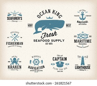 Vintage Nautical Labels or Design Elements With Retro Textures and Typography. Anchors, Steering Wheel, Knots, Seagulls, Wale, etc. Fits Perfect for a T-shirt Design. Isolated Vector Illustration.