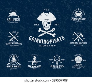 Vintage Nautical Labels or Design Elements With Retro Textures and Typography. Pirates, Harpoons, Mermaid, Sailfish, etc. Fits Perfect for a T-shirt Design, Logos so on. Isolated Vector Illustration.