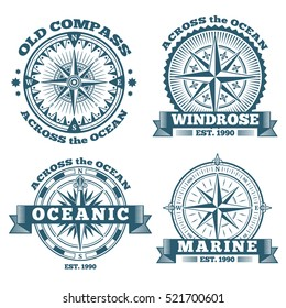 Vintage nautical labels, emblems, logo, badges with compass and ribbons