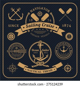 Vintage nautical labels logo set on dark background. Icons and design elements.