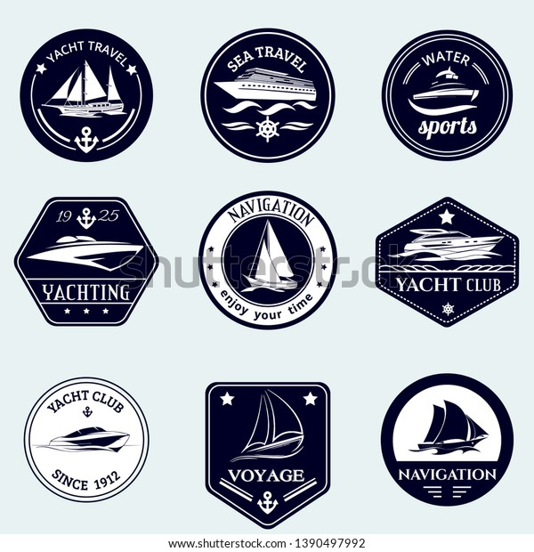 Vintage Nautical Labels Yachts Boats Emblems Stock Vector