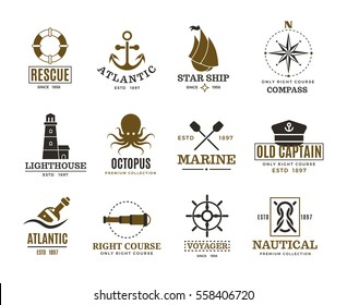 Vintage nautical, marine sailing, sea vessel vector labels, badges, logo. Sea marine logo, atlantic sea label illustration.