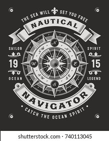 Vintage Nautical Navigator Typography On Black Background. T-shirt and label graphics in woodcut style. Editable vector illustration.