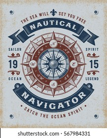 Vintage nautical navigator typography, T-shirt and label graphics in woodcut style. Editable EPS10 vector illustration.