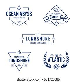 Vintage Nautical and Ocean Label Badge, Retro design element in white background