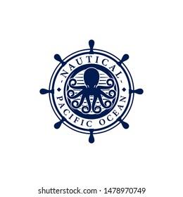 Vintage Nautical Octopus Kraken Logo Emblem Template Vector