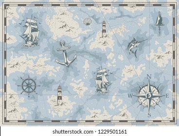 Vintage nautical old map concept with ship bell lighthouse swordfish anchor wheel navigational compass seashell islands vector illustration