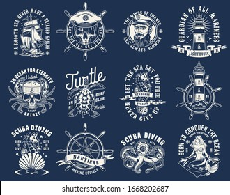 Vintage nautical prints with mermaid ship rudder skull in sailor hat with crab limbs turtle seahorse lighthouse seashell octopus in diving helmet sea captain head isolated vector illustration