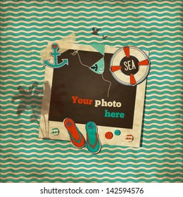 Vintage nautical scrap wavy template with photo frame, lifebuoy, swimsuit, flip-flops, anchor,palm tree,birds,heart and buttons
