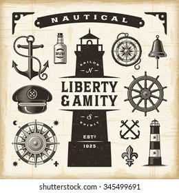 Vintage nautical set. Editable EPS10 vector illustration with transparency.