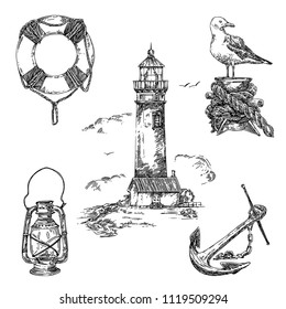 Vintage nautical set. Lifebuoy, old lantern, lighthause, seagull and anchor. Sketch. Engraving style. Vector illustration.