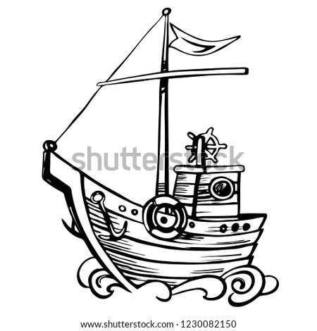 Vintage Nautical Ship Vintage Sailing Boat Stock Vector Royalty