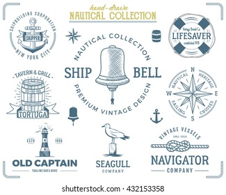 Vintage nautical stamps set. Old ship retro style. Sailing labels, emblems illustration. Nautical graphic symbols - rope, wind rose, lighthouse. Vector nautical sketch design. Adventure lifestyle.