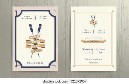 Vintage nautical twin paddles ribbon wedding invitation card template on wood background