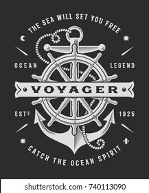 Vintage Nautical Voyager Typography On Black Background. T-shirt and label graphics in woodcut style. Editable vector illustration.