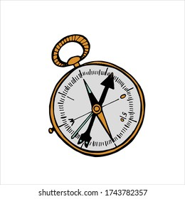 Vintage naval compass with a wind rose. Ink drawing sketch. Doodle Campaign Vector illustration on a white background. Design template element for logo, flyer, banners, invitations, stickers.