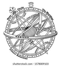 Vintage navigation device, Armillary sphere, vintage hand drawn illustration, isolated on white, vector illustration