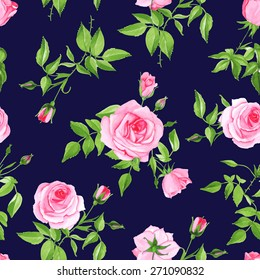 Vintage navy with pink rose seamless vector print. Contrast retro floral pattern.