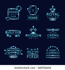 Vintage neon hipster poker club and casino signs. Royal gambling play, risk and chance, vector illustration