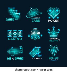 Vintage neon poker tournament and casino vector icons. Logo for casino club illustration