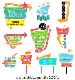 vintage neon sign colorful collection,road trip
