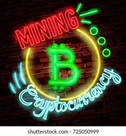 Vintage neon sign mining cryptocurrency. Green neon bitcoin symbol isolated on black background. Digital money, mining technology concept. Light effect. Gold crypto currency logo. Vector icon.