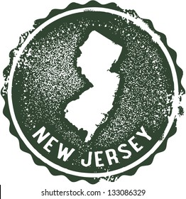 Vintage New Jersey USA State Stamp