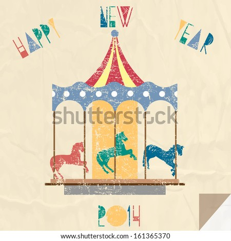 vintage new year card with carousel 2014 year of horse vector eps10