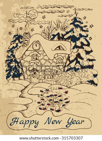 vintage new year card with a house and conifers in snow hand drawn illustration