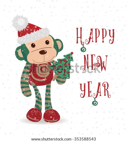vintage new year card with monkey vector