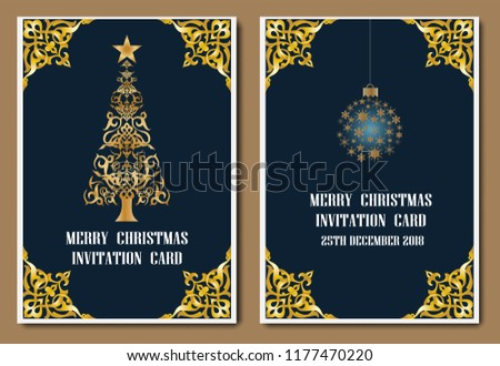 vintage new year and merry christmas party gold invitation card greeting card flyer