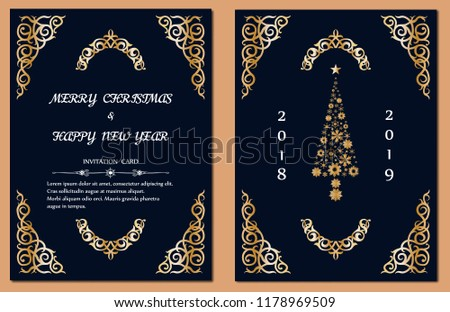 vintage new year and merry christmas party gold invitation card vector illustration