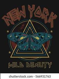 Vintage New York Butterfly Rock Graphic t-shirt
