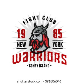 Vintage New York Warriors Fight Club Tshirt Apparel Fashion Print. Retro Hand Made Tee Graphics. Old School Americana Style. Athletic Department Aesthetics. Classic Sport Logo. Viking's Head.