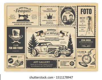 Vintage newspaper advertising. Newsprint labels with retro fonts, frames and old illustrations. Vector realistic background press advertising with announcements for fashion design work