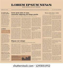 Vintage newspaper background. Newspaper design template